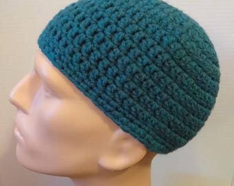 Teal kufi beanie skullcap prayer cap crochet large