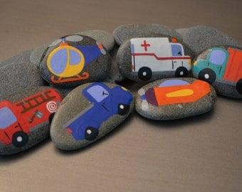 Planes, Trains and Automobiles 6 piece Story Stone Set
