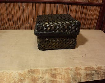 Vintage Chinese Bamboo  Basket with Lid Square