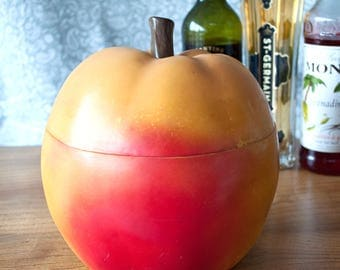 Vintage Midcentury Apple Fruit-Shaped Leatherfoam Ice Bucket