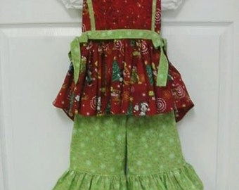 Ready to Ship! Size 3-4 Precious Christmas Outift with Ruffled Pants, Holiday Outfit, Minnie Mouse Inspired