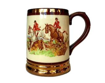 Equestrian Themed Mug, Tankard, Arthur Wood England, Horse and Rider, Autumn Leaves Beer Stein