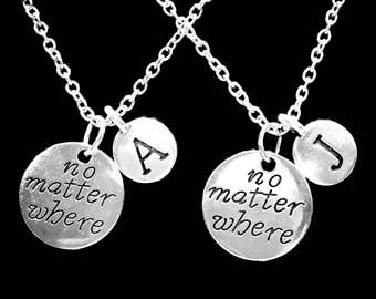 Best Friend Gift, No Matter Where Initial Necklace, Best Friend Necklace, Long Distance, Sister Necklace, Mother Daughter Necklace Set
