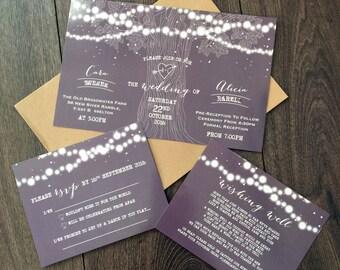Custom Printable Wedding Invitation Set - Vintage Tree Lights Design