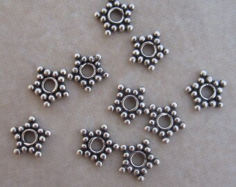 10 sterling silver Bali star spacer beads