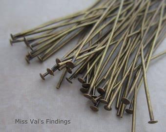 100 antique brass 2.5 inch headpins 21 gauge