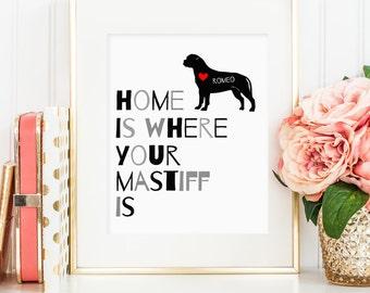 Mastiff art, Bullmastiff dog print, personalized dog art printable for your Mastiff, gift for Bullmastiff dog owners, wall art (digital JPG)