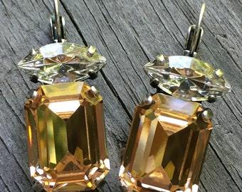 Light peach crystal Swarovski earrings