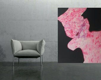 Abstract art painting pink flower XXL canvas original painting artworks art designer images Onepice unique 120 x 150