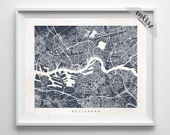 Rotterdam Map, Netherlands Print, Rotterdam Poster, Netherlands Art, Street Art, Baby Shower Gift, Map, Illustration, 4th of July