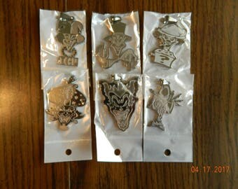 ICP Set of all 6 joker card Stainless Steel pendants/ all come with ball chain
