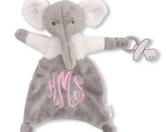 Monogram Me Velour Elephant Pacy Pal - Cuddler - Baby Gift - Luvie - Blanket - Baby Shower Gift - New Baby Gift