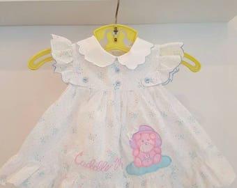 Vintage newborn flutter sleeve vintage dress. Cuddle me embroidered. Mini togs