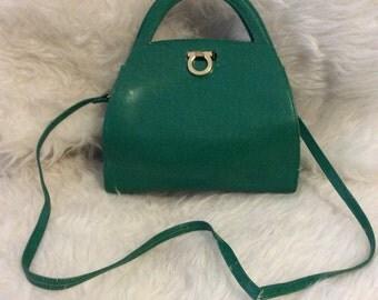 Vintage pourchet paris green top handle bag
