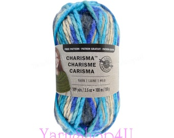 CASCADE Bulky Charisma Loops and Threads Yarn. This Blue and Purple Ombre Yarn is 3.5oz 109yds. A Chunky Thick Soft Variegated Acrylic Yarn.