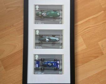 Classic F1 formula one motor racing cars Stirling Moss Jim Clark Graham Hill stamp wall art framed