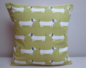 """Handmade Fryetts 'Hot Dogs' Dachsunds Sausage Dog Cushion Cover Pillow Cover Ocre 16"""""""