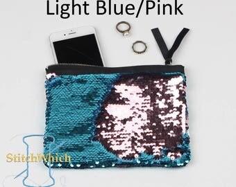 Light Blue & Pink Reversible Sequin Clutch
