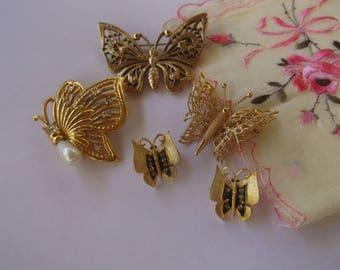Vintage Butterfly Pin Lot, 5 Gold Tone Butterflies, Butterfly Pins Brooches, Designer Butterfly Pins, Monet, JJ, 1928