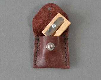 Handmade Burgundy Leather Pencil Sharpener Case & Sharpener