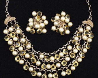 1950s - Vintage Citrine Crystals and Faux Pearls Cascade Necklace & Earrings Set