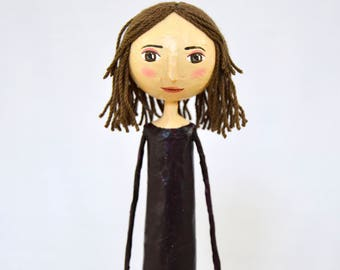 Handmade Gift for Girl Doll Decorative Doll Paper Mache OOAK Art Doll Sculpture Unique Gift for Women Collectible Doll Gift for Bestfriend