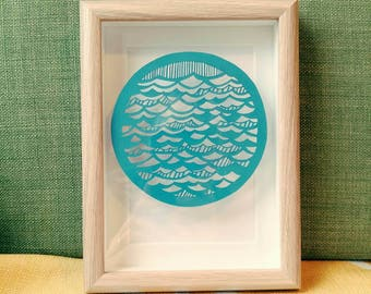 Waves Framed Original Papercut
