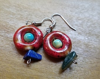 Cirle Beaded Earrings with red, teal, and stone