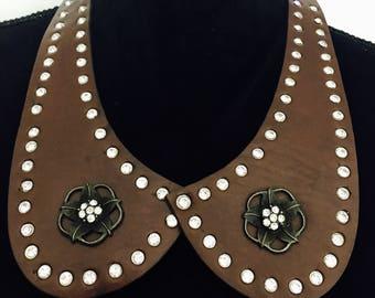 Women Handmade boho vintage bohemian Leather stone studded collar bib hippie gypsy necklace brown.