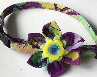 Purple Tie Dye Dog and Cat Flower Collar
