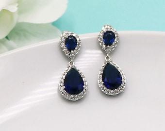 Sapphire Bridal Earrings, Bridal earring jewelry, cubic zirconia earrings ,cubic zirconia earrings, bridal jewelry, blue earrings 510693519