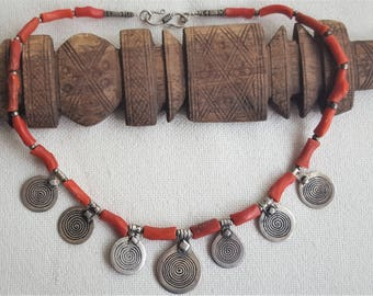 old moroccan silver, coral necklace