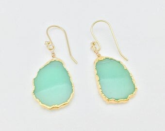 Chrysocolla Sliced Gold Earrings // Free Form Gold Dipped in 18k Gold Vermeil