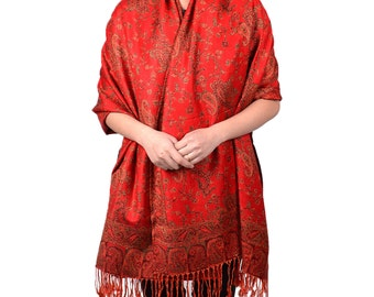 Paisley Floral Branches Pashmina Scarf Shawl Wrap Red