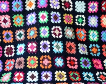 Vintage Granny Square Afghan or Throw / 54 in x 54 in / Acrylic / Cottage Cabin Retro Decor  Picnic / ALifetimeofVintage