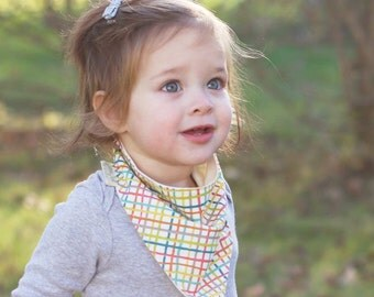 Baby Bandana Bib in Woven Multi Color, Organic Gender Neutral Scarf Bib for Babies and Toddlers, Modern Baby Shower Gifts, Gifts Under 30