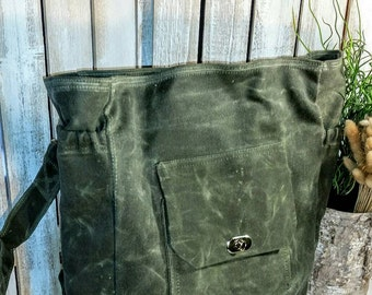 Waxed Canvas Diaper Bag / Backpack / Book Bag / Satchel / Shown in Olive