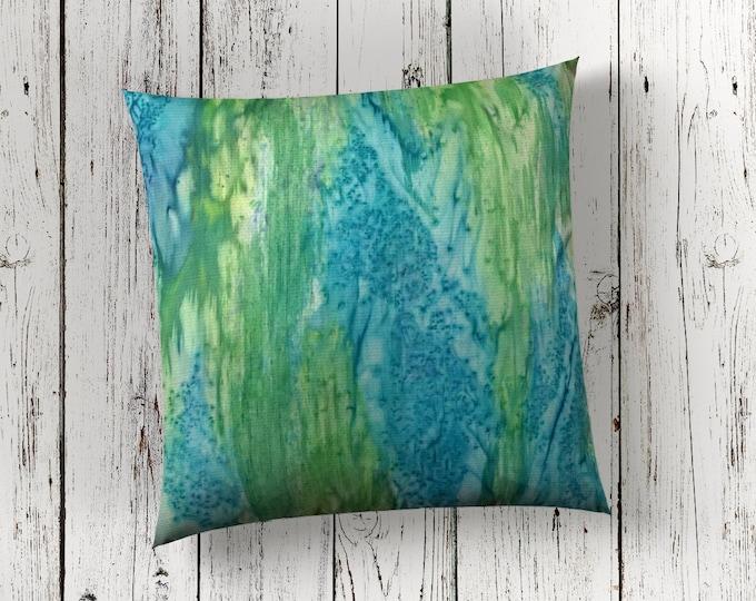 Beach Decor Pillow 18x18-Watercolor Silk Pillow-Blue & Green Pillow-Coastal Decor-Ocean Decor-Home Decor Gifts-Watercolor Home Decor