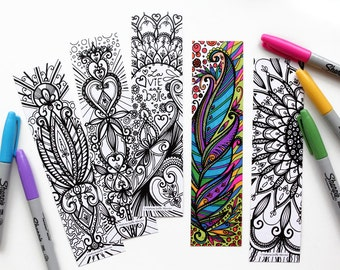 Set of 5 bookmarks, bookmark, coloring, life is beautiful, feather, flowers, mandala