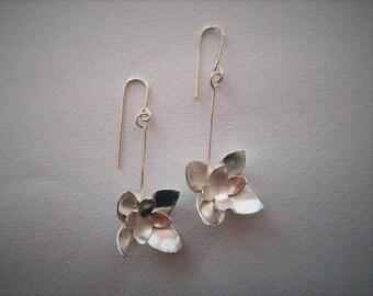 Water Lily, Dangle Earrings, Silver Earrings, Flower Jewelry, Mother's Day, Gold Earrings, Contemporary Jewelry, Gift, Statement Earrings