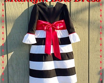 GIRLS MODEST DRESS black white striped bow dress