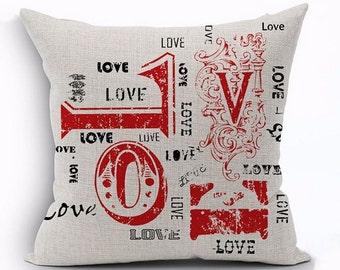 Vintage LOVE Script Pillow Cover