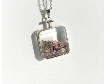 Long Silver Glass Bottle Pendant Necklace