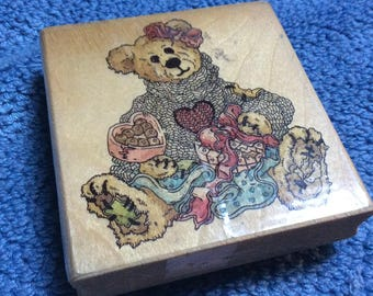 Valentine's Bear Rubber Stamp | Baileys Hearts Desire Boyd's Collection H21033