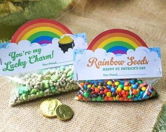 St. Patrick's Day Treat Bag Toppers, Printables, Rainbow Seeds, Lucky Charm, St. Patrick's Day classroom treats, Kids St. Patrick's Day