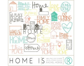 Home Is Set: Photoshop Brushes, Digital Cut Files & Clip Art