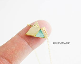 Gold Framed Mint Opal Stone Mountain Charm Necklace Bridesmaid Necklace Bridesmaid Gift Wedding Jewelry