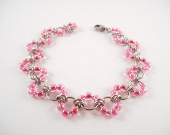 Pink Wave Bracelet - Pink Beaded Stainless Steel Wave Chain Maille Bracelet