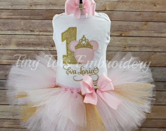 Minnie Mouse Birthday Tutu Outfit ~ Princess Minnie Tutu Outfit ~  Includes Top, Tutu & Hair Bow ~ Customize in Any Colors!