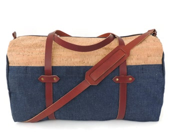 Cork and Denim Weekender Bag with Leather Straps and Exterior Pockets